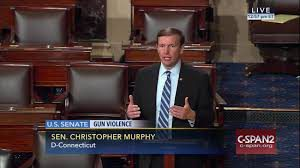 D-Sen. Christopher Murphy speaking to the U.S. Senate about gun violence.