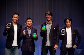 Game Freak's Junichi Masuda, The Pokémon Company's Tsunekazu Ishihara, Niantic's John Hanke, and Nintendo's Shigeru Miyamoto.